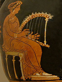 A rich woman plays a harp