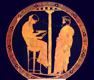 Pythia at Delphi, with Aegeus