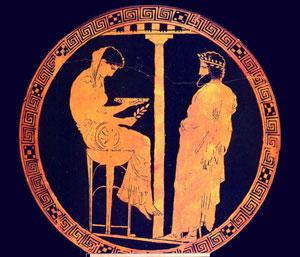 Pythia at Delphi, with Aegeus