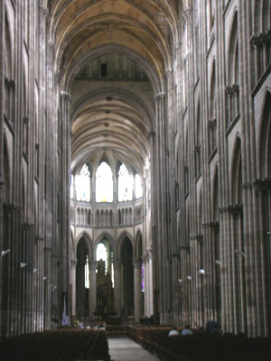 A Gothic cathedral: very high nave with stone arches