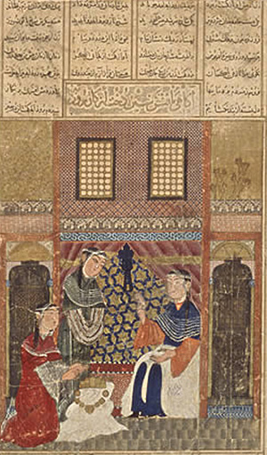 Rudaba's father finds out (Grand Mongol Shahnameh, Iran, 1330s AD)