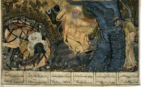 Thedeath of Rustem. His tiger skin is on his dying horse
