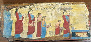 Painting of people walking with animals towards an altar: animal sacrifice