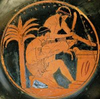 Two men sacrifice a pig on an altar, preparing to eat the pork. Greek red figure vase.