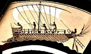 Sailors setting sail on a Greek warship