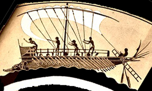 Sailors setting sail on a Greek warship - Greek ships