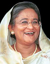 Sheik Hasina: an Indian woman in middle age with a white sari over her head