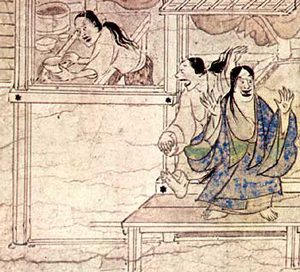 Excited women (Shigisan Engi Emaki, ca. 1100 AD)