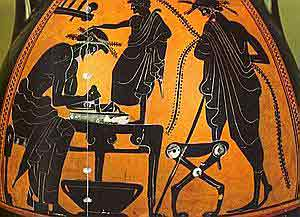 A man making shoes for a little boy: ancient Greek economy