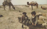 Turkomen on the Silk Road with camels