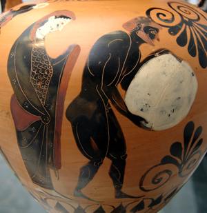 Persephone supervises the punishment of Sisyphos