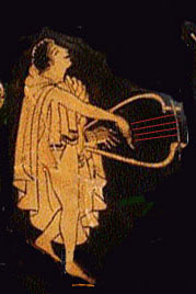 A slave woman plays a lyre