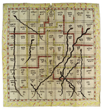 Indian Snakes and Ladders game (1700s AD)