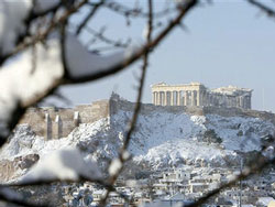 Snow in Athens (thanks BBC!)