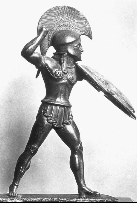 A bronze statuette of a Spartan man in armor, from about 500 BC