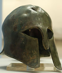Spartan war helmet in bronze