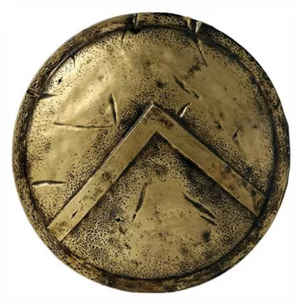 A Spartan hoplite shield, with the lamba of Lacedaimonians on it