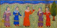 Spinning thread in the garden (1400s AD)