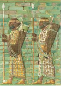 Iranian archers made out of glazed bricks