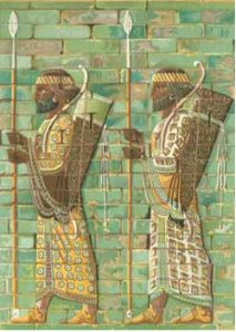 Iranian archers made out of glazed bricks (Persians)