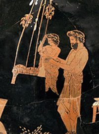 A man lifts a child into a swing (Eretria Painter, 435-420 BC)