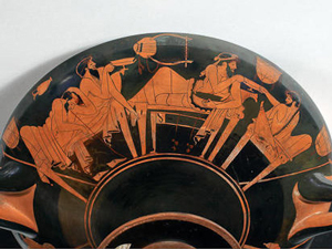 A Greek red-figure vase with men talking and drinking - are they talking about Greek philosophy?
