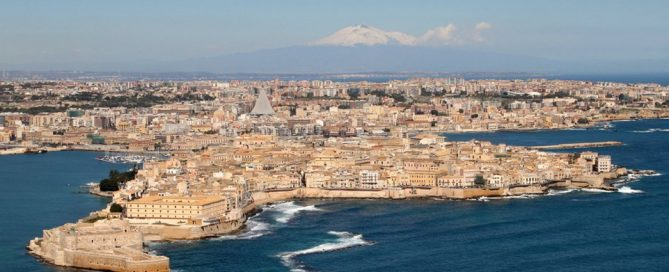 Syracuse, Sicily, with Mount Etna in the background
