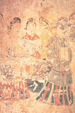 Court attendants (Takamatsuzuka Tomb, ca. 600s AD)