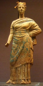 Girl wearing a long dress wrapped around her - Ancient Greek clothing