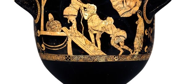 Greek krater bowl for mixing water and wine, with a scene from a comedy on it (Probably the Tarpoley Painter, about 400 BC)