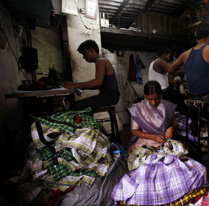 Clothing workers in Mumbai (Photo: Danish Siddiqui/Reuters, ca. 2010)