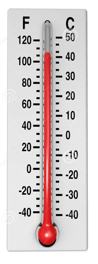 a thermometer marked in both Fahrenheit and Centigrade degrees