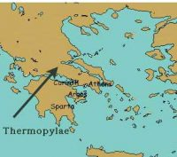 Map of Greece showing where Thermopylae is in northern Greece
