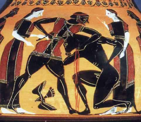 Theseus and the Minotaur Athenian black-figure vase, ca. 550 BC