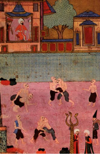 Wrestling at the Ottoman court, about 1500 AD