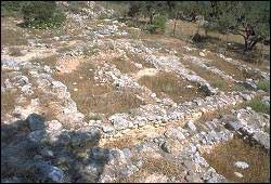 The site of Vasiliki in Crete - again, only the foundations of the walls are still there, but you can see the outlines of some of the rooms.