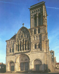 The Romanesque cathedral at Vezelay (1100 AD)