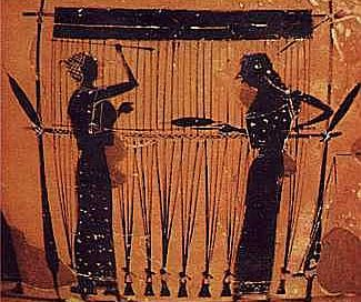 Two women weaving on a black-figure vase