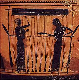Two women weaving on a black-figure vase