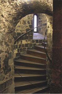 A spiral staircase in the White Tower