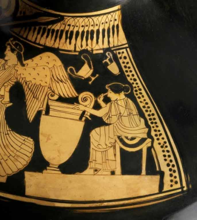 a red figure vase showing a woman sitting and working on a large clay pot. Smaller pots hang from the ceiling over her head