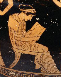 A woman reads a scroll: red figure vase from Athens in the 400s BC