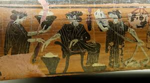 Ancient Greek trade: A wool workshop in Archaic Greece: women making woolen cloth to sell: Ancient Greek trade
