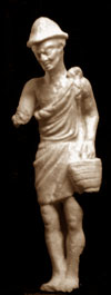 marble statue of a man in a tunic carrying a basket