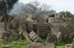 An earthquake knocked down the Temple of Zeus at Olympia
