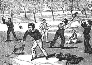 History of American games: a drawing of Settlers playing baseball in 1833 AD