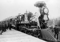 A railroad train in Fargo, North Dakota in 1883