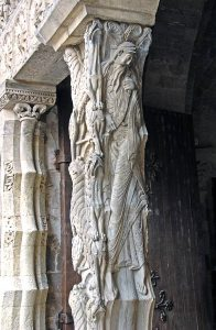 A very long, twisted man in stone, from Moissac