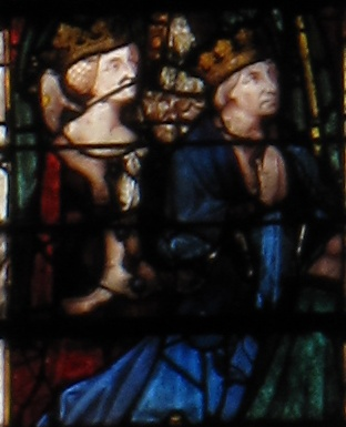 Joanna II and her husband James, in a stained glass window from Chartres Cathedral