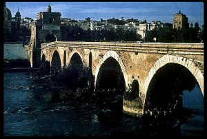 Milvian Bridge - stone arches over a river